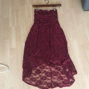 High-low maroon lace dress